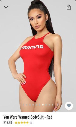 Warning bodysuit - red