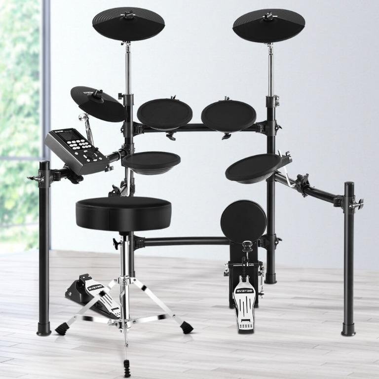 8 Piece Electric Electronic Drum Kit Drums Set Pad and Stool For Kids Adults Sili