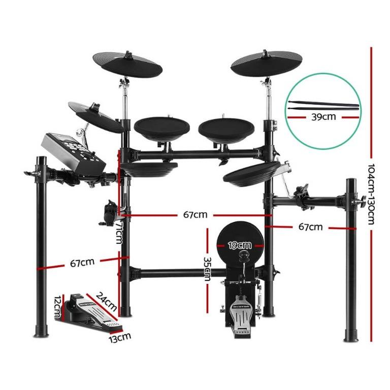 8 Piece Electric Electronic Drum Kit Drums Set Pad Tom Midi For Kids Adults