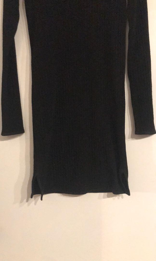 ARITZIA Mariel Ribbed Mock Neck Dress - BLACK (XS)
