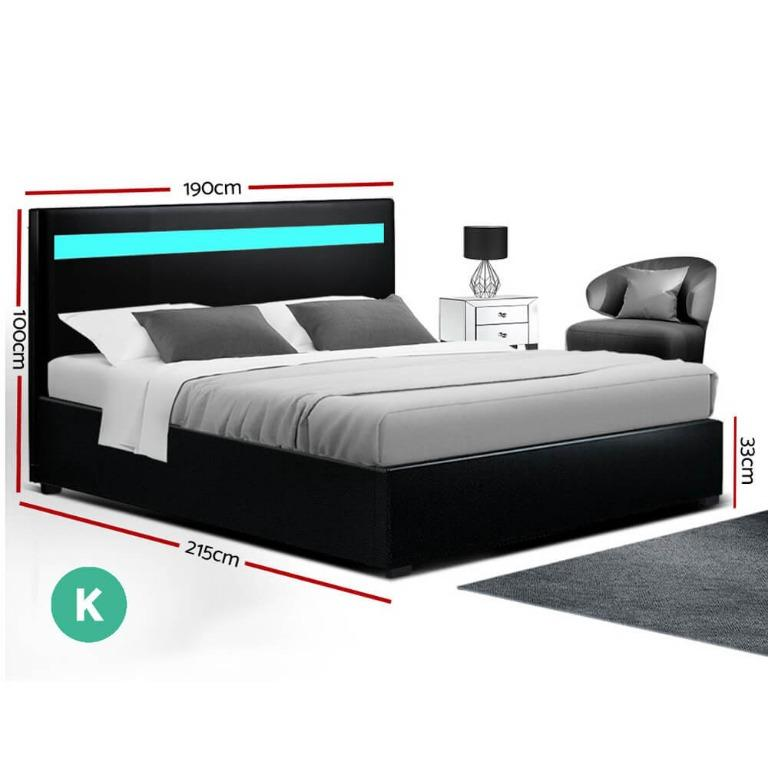 Artiss LED Bed Frame King Size Gas Lift Base With Storage Black Leather