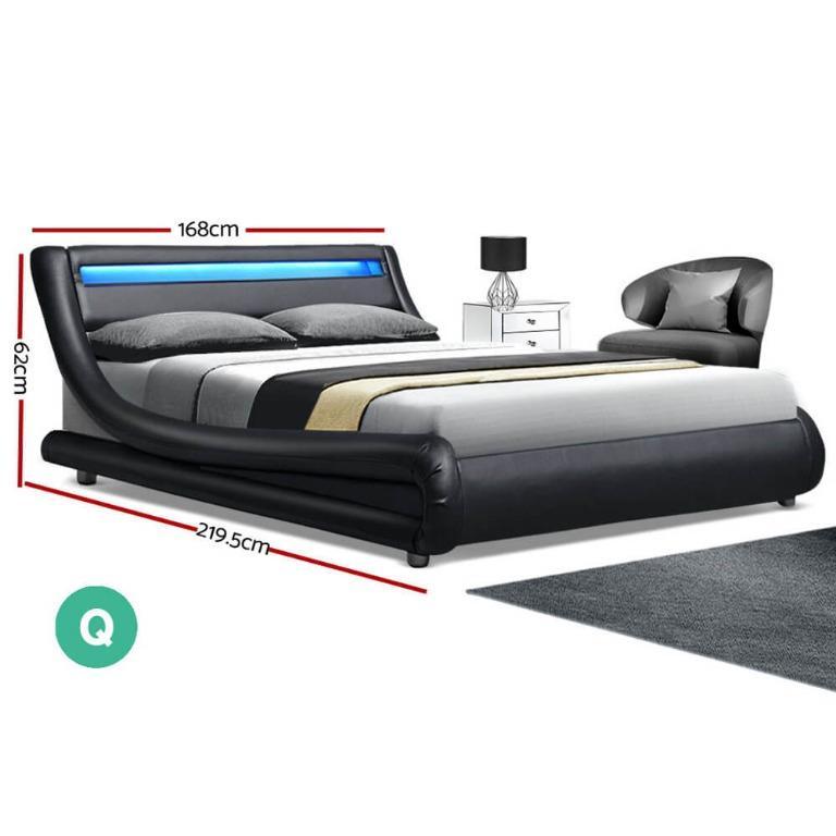 Artiss LED Bed Frame Queen Size Base Mattress Platform Black Leather Wooden ALEX
