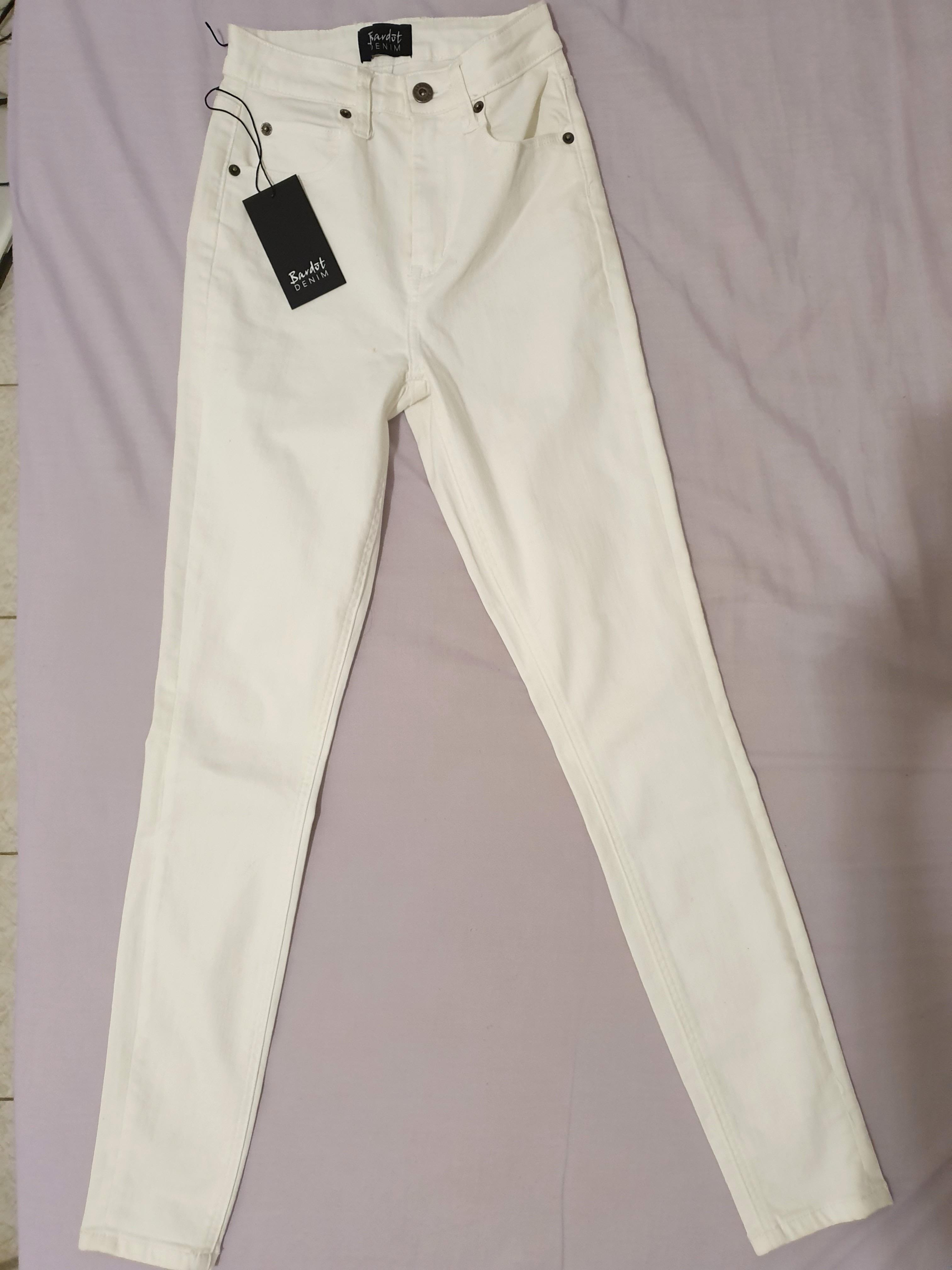 BRAND NEW WITH TAGS High Waisted White Bardot Jeans
