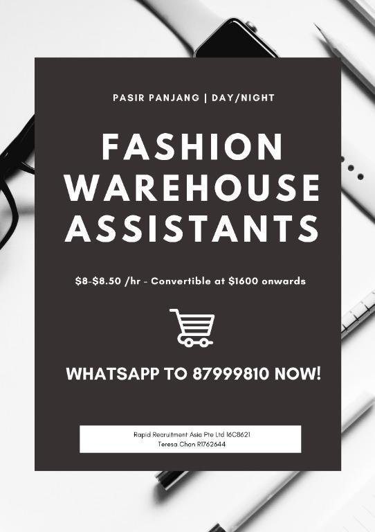 Fashion Warehouse Assistants (Day/Night, Start ASAP!)