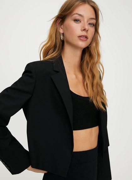 New with tags! Aritzia Babaton Everett Blazer Cropped Black Size XXS / 2XS