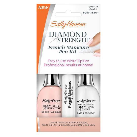 Sally Hansen Easy Micro Diamond Strength White Precision Perfect Tip No Chip French Manicure Kit