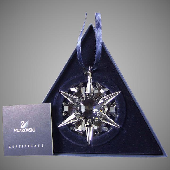 Swarovski 2002 Snowflake Christmas Ornament + Box, Certificate