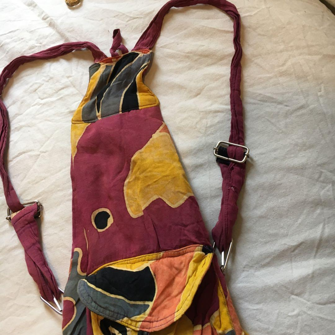 Vintage multicoloured slouch backpack with adjustable straps | Unisex