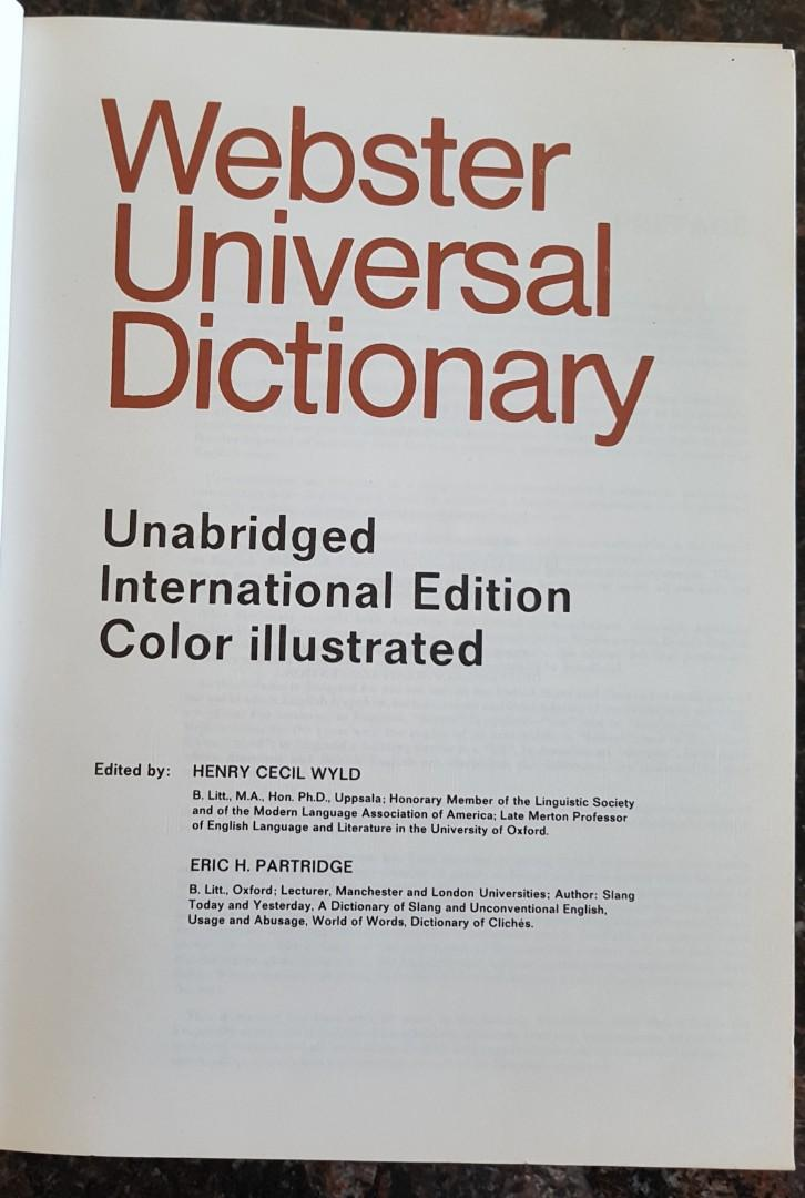 WEBSTER UNIVERSAL DICTIONARY INTERNATIONAL COLOUR ILLUSTRATED