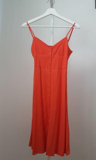 Forever 21 Red-Orange Midi Sundress