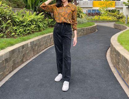 Playchess Corduroy Pants Celana Panjang Wanita Vintage Thrift Shop Thriftshop