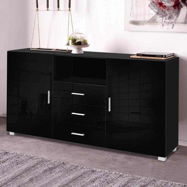 Artiss Buffet Sideboard Cabinet High Gloss Storage Cupboard Black Doors Drawers