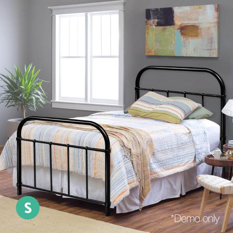 Artiss Metal Bed Frame SINGLE Metal Size Mattress Base Platform Foundation Black