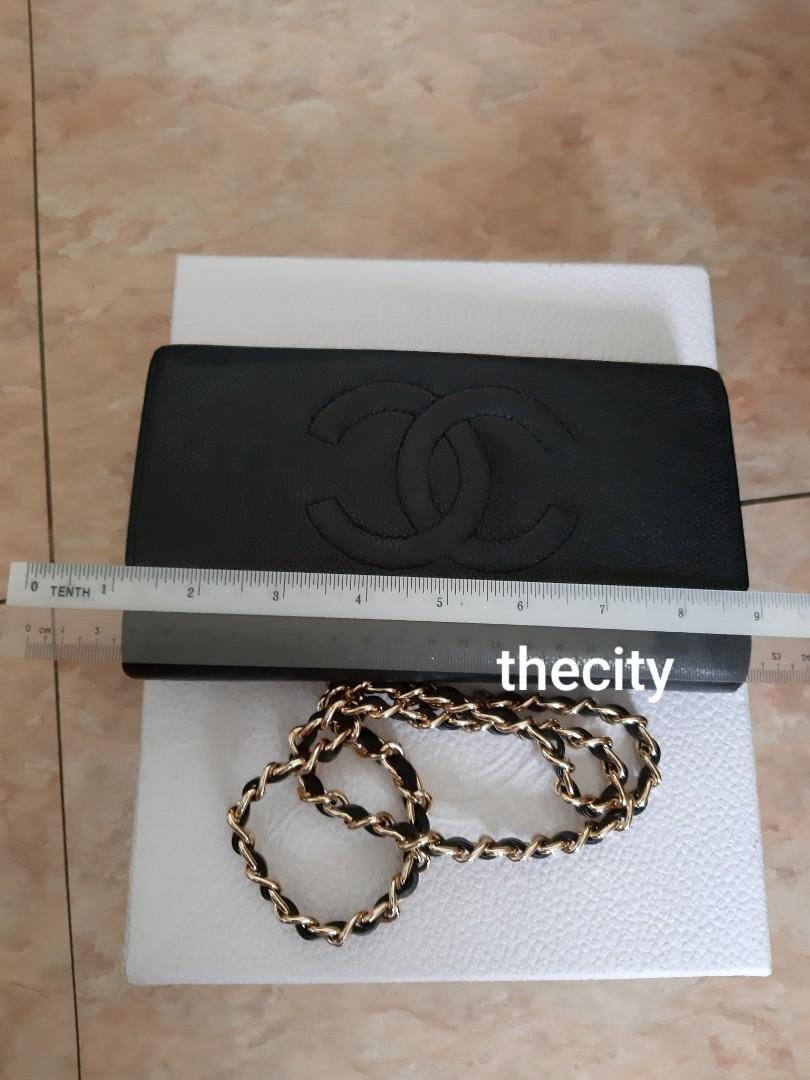 AUTHENTIC CHANEL BLACK CAVIAR LEATHER- XL ORGANIZER POUCH / WALLET- CC LOGO DESIGN - LEATHER IN GOOD CONDITION, CLEAN INTERIOR- GOLD HARDWARE- COMES WITH EXTRA ADD HOOKS & LONG CHAIN STRAP FOR CROSSBODY SLING