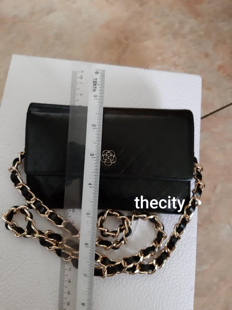 AUTHENTIC CHANEL BLACK QUILTED  LEATHER ORGANIZER POUCH / WALLET- CC CAMELLIA FLOWER LOGO DESIGN - LEATHER IN GOOD CONDITION, CLEAN INTERIOR-  HOLOGRAM STICKER INTACT - CLASSIC TIMELESS VINTAGE,  SO NOT FOR FUSSY BUYERS -  WITH EXTRA ADD HOOKS & STRAP