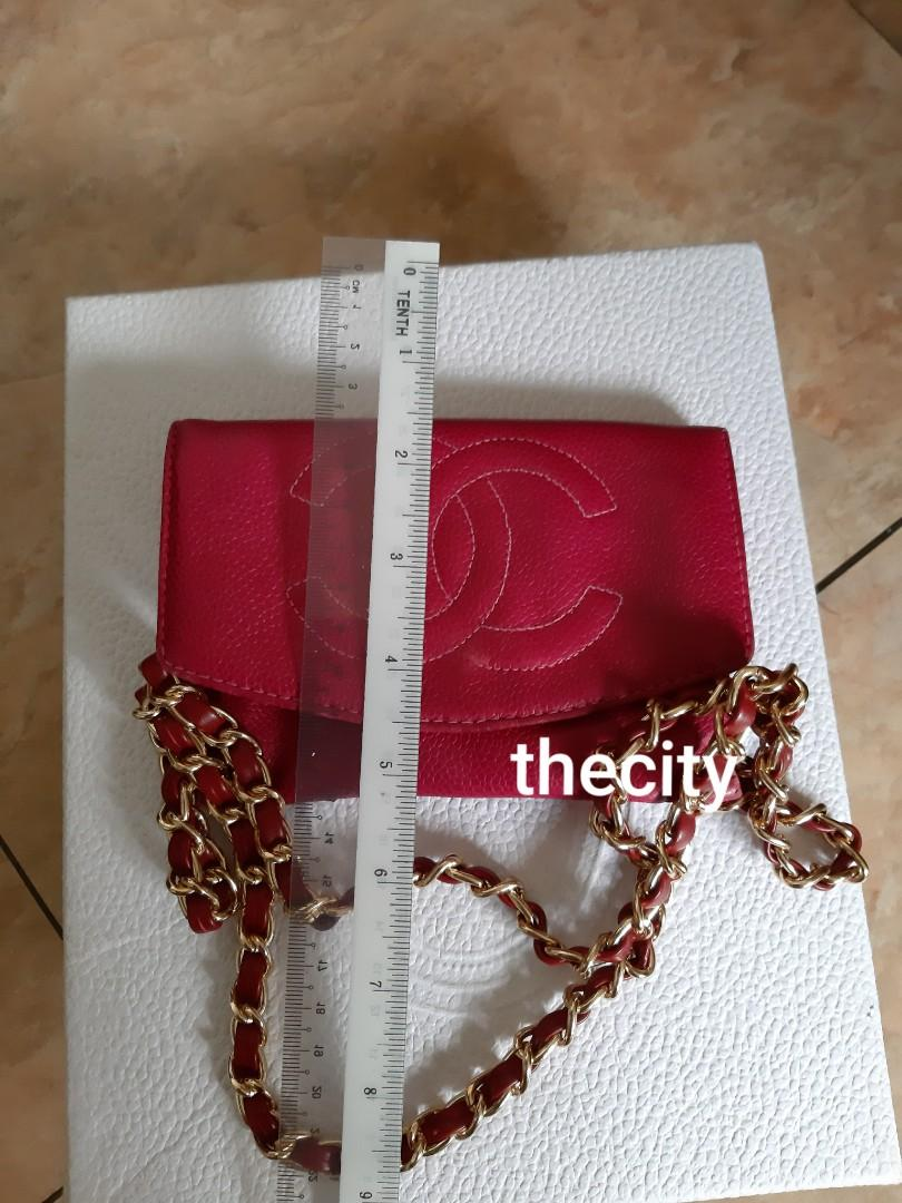 AUTHENTIC CHANEL ORGANIZER POUCH/ WALLET - RED CAVIAR LEATHER- BIG CC LOGO DESIGN - HOLOGRAM STICKER INTACT - GOLD HARDWARE- COMES WITH EXTRA ADD. HOOKS & LONG CHAIN STRAP FOR CROSSBODY SLING- WATER LOG LEATHER SLIGHTLY WRINKLED
