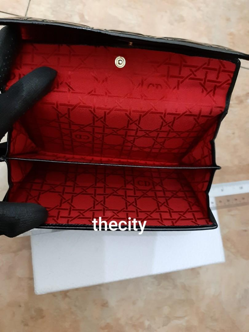 """AUTHENTIC DIOR, """"LADY DIOR"""" QUILTED SHINY BLACK PATENT LEATHER LARGE ORGANIZER/ WALLET  - GOLD HARDWARE- CLEAN INTERIOR- OVERALL IN VERY GOOD CONDITION, USED LESS THAN 3 TIMES - (LADY DIOR LONG WALLETS NOW RETAIL AROUND RM 5000+)"""