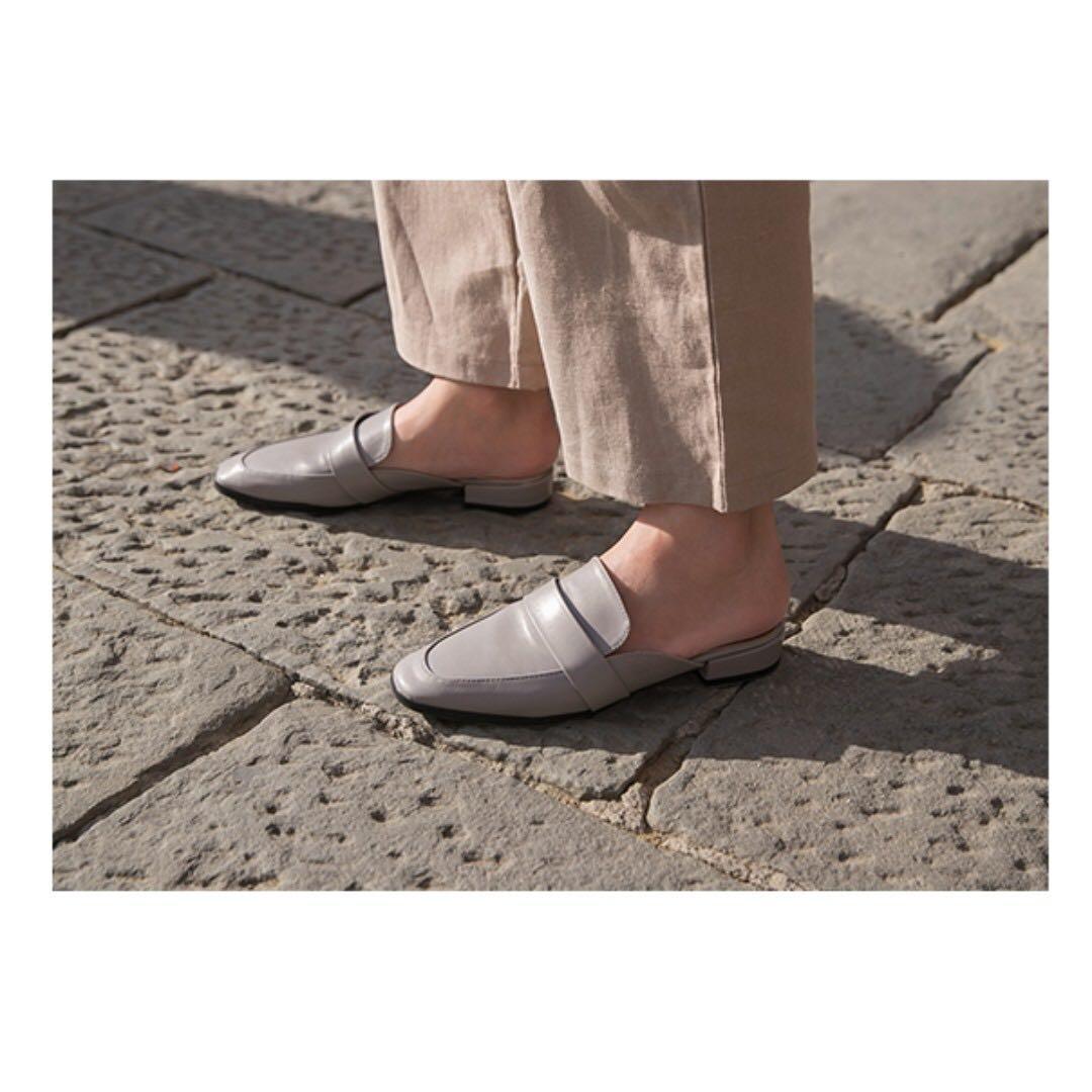 [二手]D+AF 質感生活簡約設計方頭穆勒鞋/灰37  #HB8