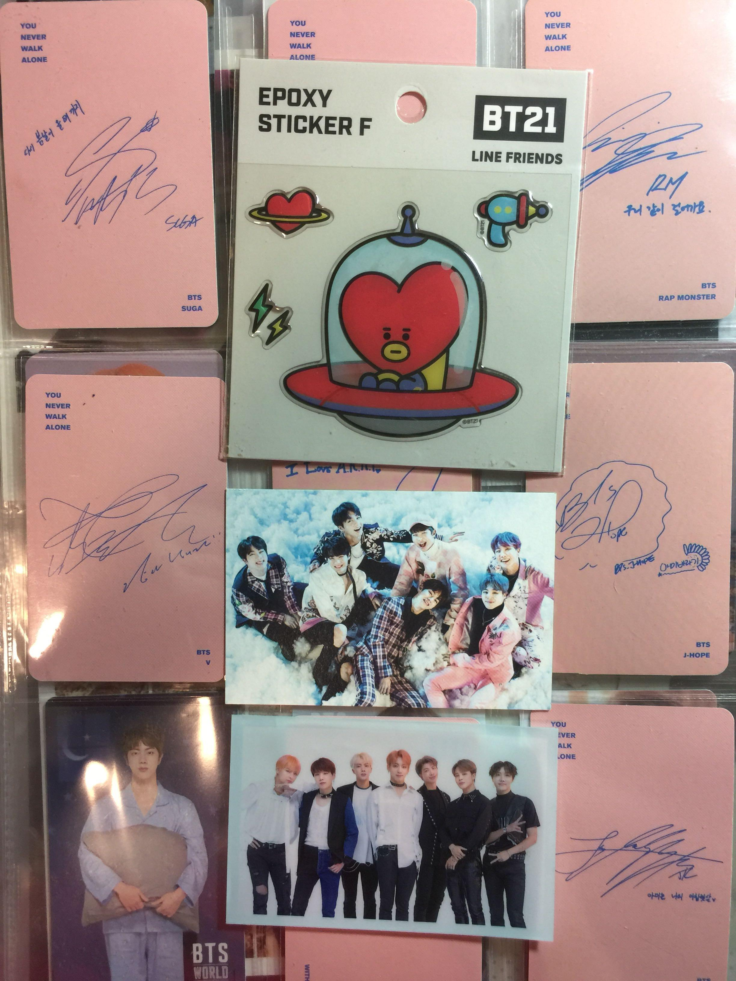 free ( official ! ) | bt21 tata epoxy sticker f + japan fc pc sleeve + bts wings tour pc