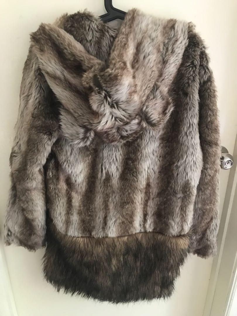 Free size faux fur brown winter jacket with ears hoodie