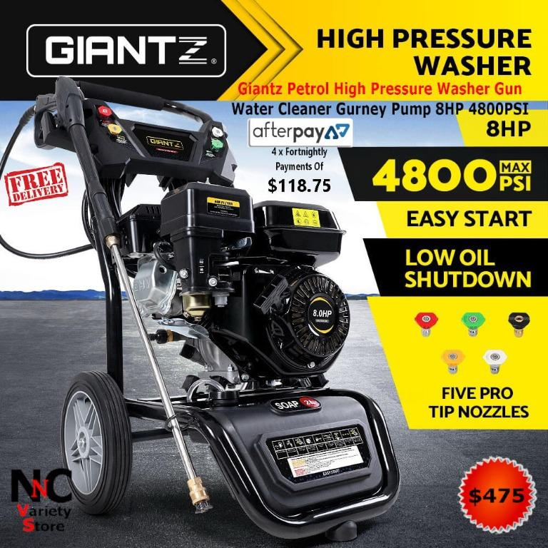Giantz Petrol High Pressure Washer Gun Water Cleaner Gurney Pump 8HP 4800PSI