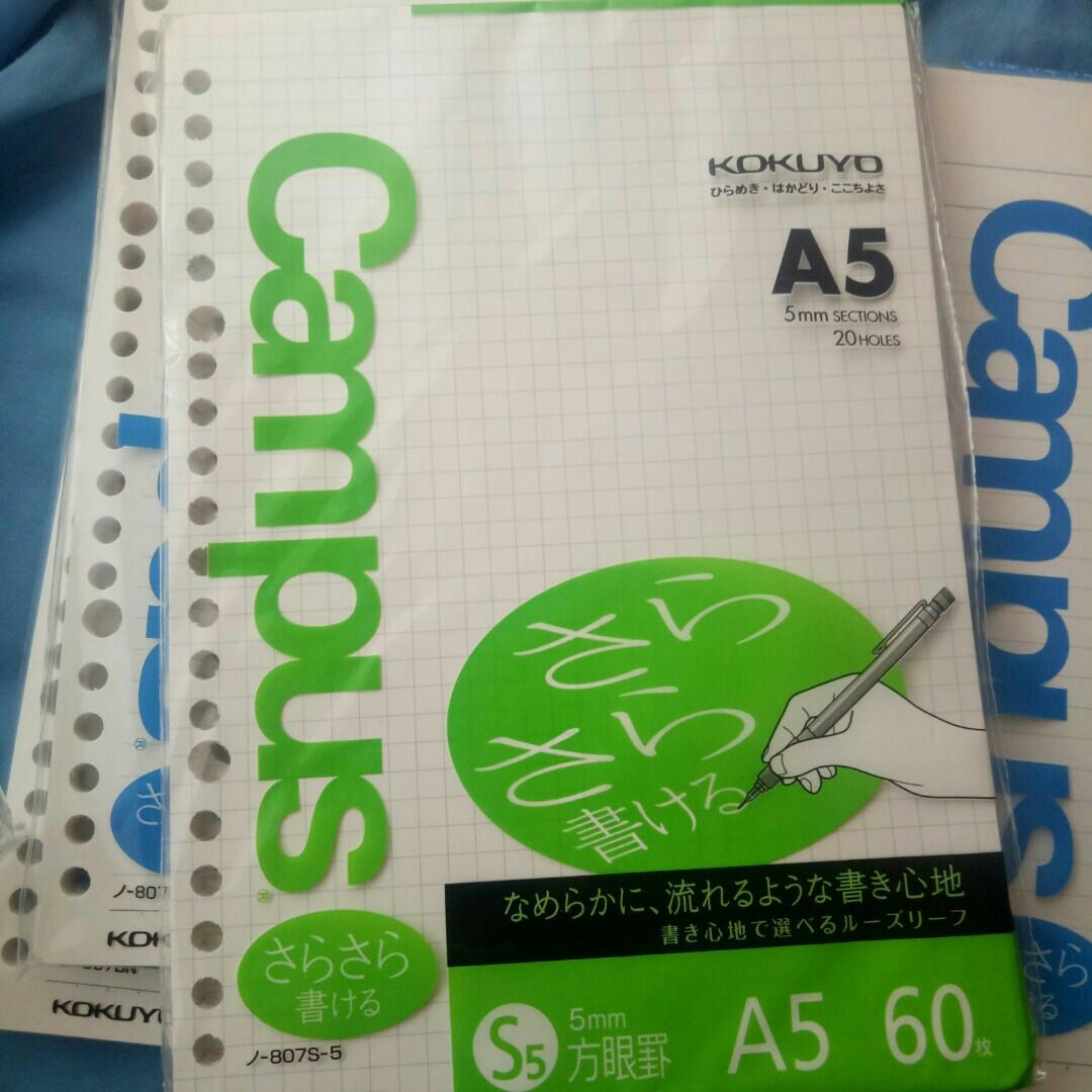 Kokuyo Campus Loose Leaf (A5, graph, 5mm sections, 20 holes, 60 sheets) Available: 2 packs