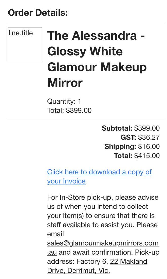 Lumiere Glamour makeup mirror in glossy white bought last Christmas in good condition