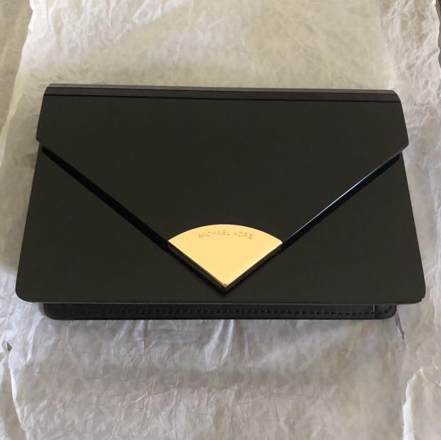 Michael Kors Barbara Medium Envelope Clutch (Black)