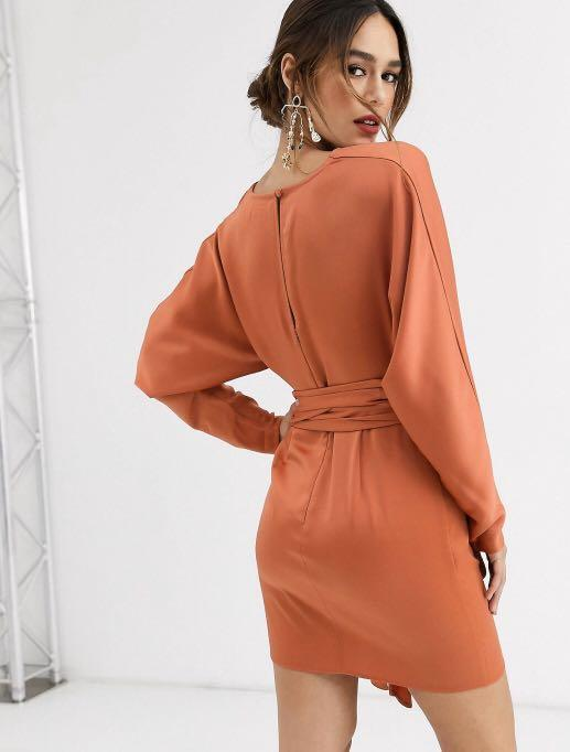 Mini satin dress with batwing sleeve and wrap waist