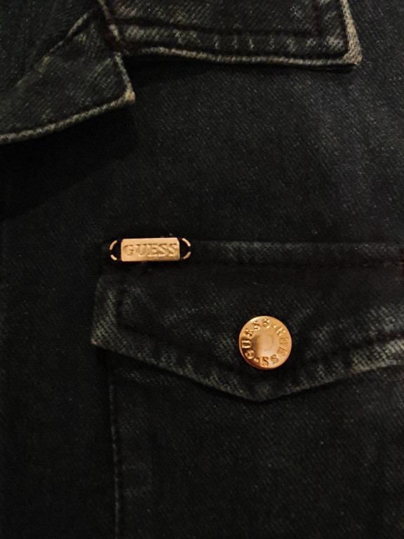 NWOT Guess Dark Blue Denim Snap Button Down Shirt Dress Sz L