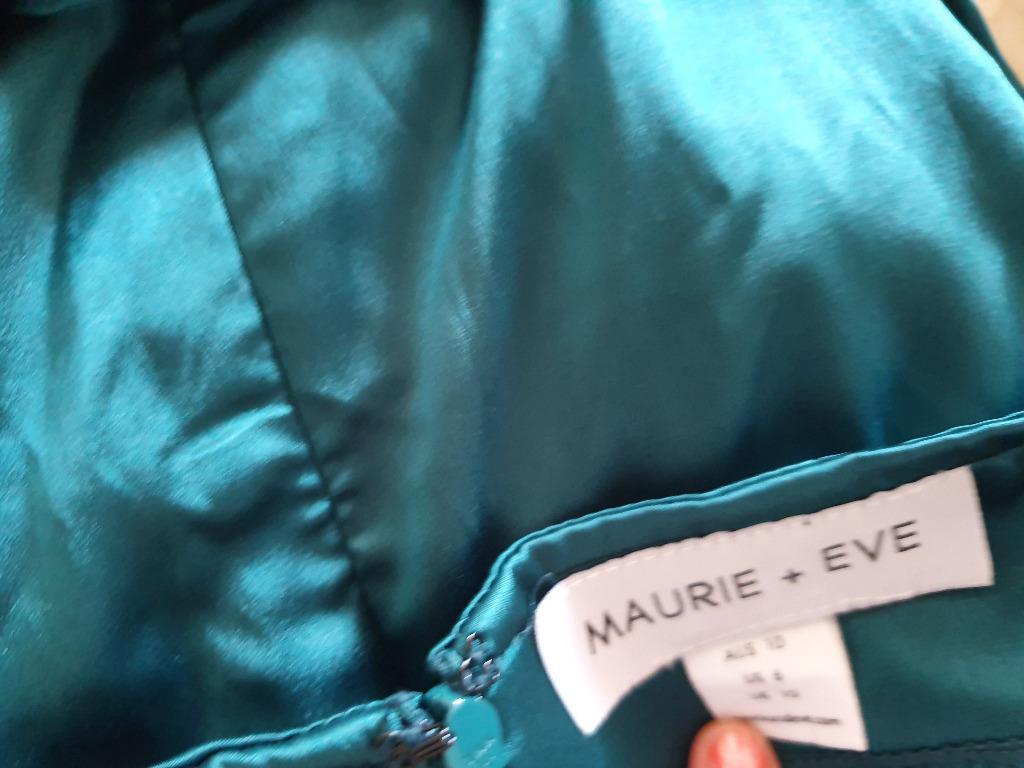 NWOT SZ 10 TOPAZ GREEN TEAL APACHE SATIN MIDI SLIP DRESS MAURIE & EVE