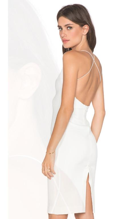 NWOT Sz 12 Maurie and Eve Plunge V neck Aquila Dress in White
