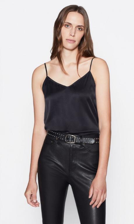 NWOT SZ M Equipment Black 100% Silk Camisole String Top