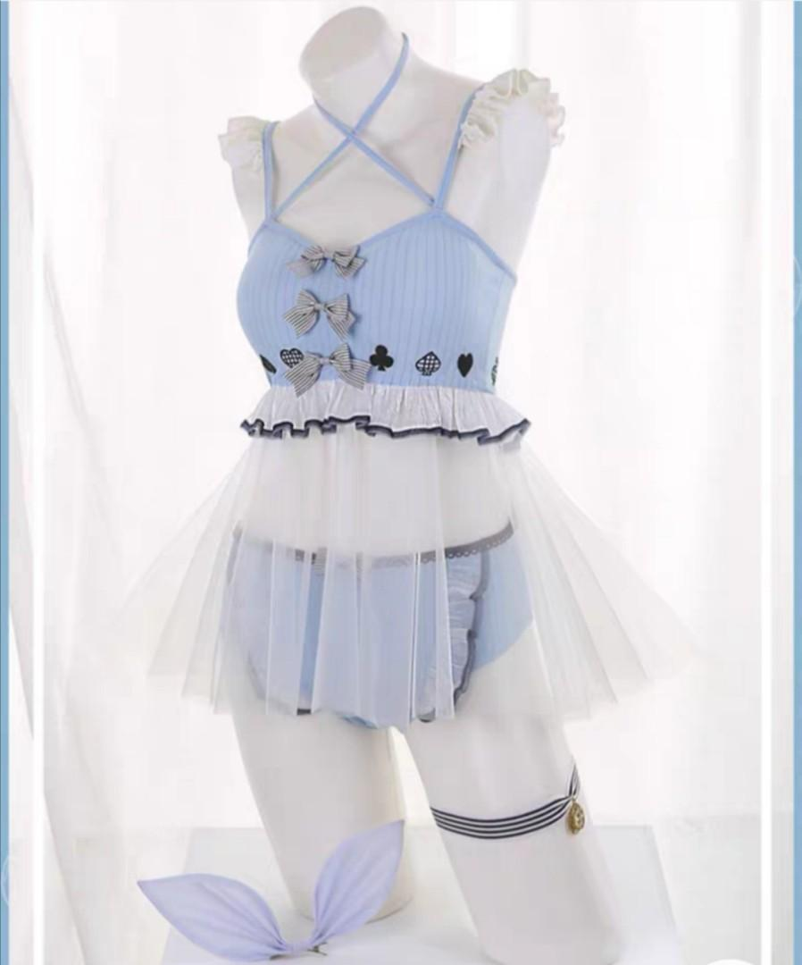 Pre sell Alice in the wonderland Swimsuit cosplay costume with wig