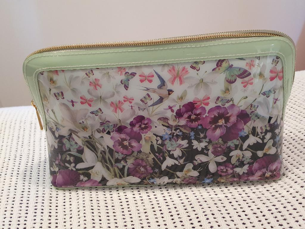 Pre-Loved Ted Baker Floral Mint, Purple, Gold Travel Bag