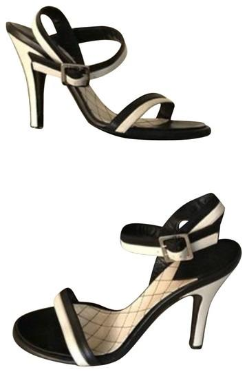 PRE-OWNED Sz 41 Chanel Black and White Stripe Heels Sandals with Silver Buckle