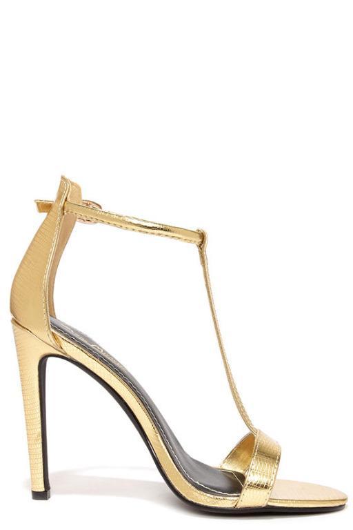 Sz 10AU WORN ONCE Anne Michelle Gold Lizard T Strap High Heel Sandals