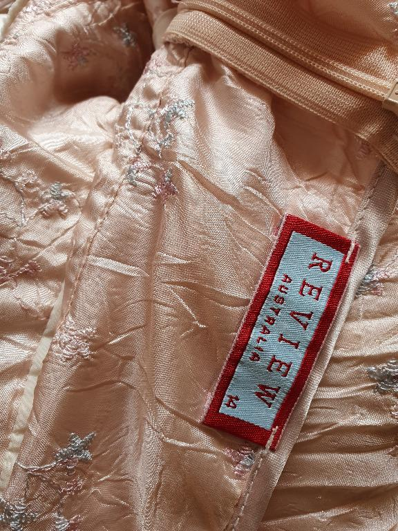 Sz 14 WORN ONCE Review Champagne Pink Silk Pleated Babydoll dress with Mint floral embroidery