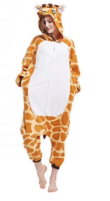 Sz PRE-OWNED Giraffe Animal Onesie Polar Fleece Costume