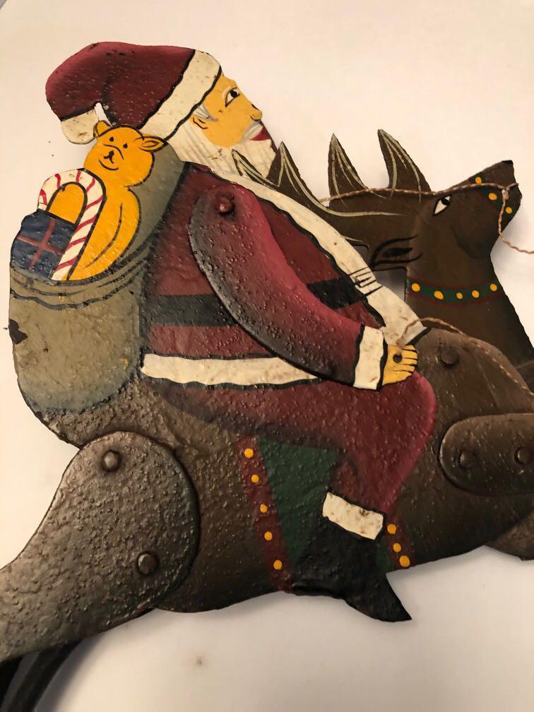 Vintage Santa riding Reindeer balance / decoration