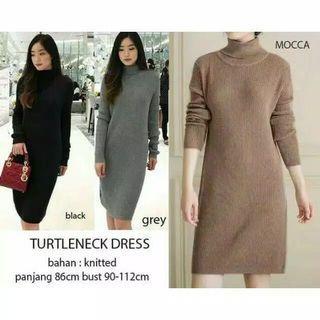 Turtleneck dress abu musim dingin