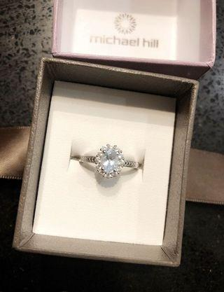 Michael Hill sterling silver ring with aquamarine & white sapphires