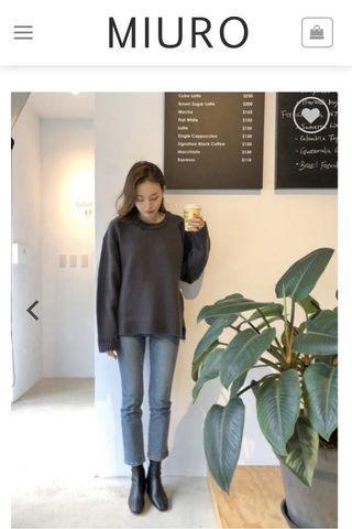 MIURO 轉賣 寬鬆圓領粗針毛衣 藍紫