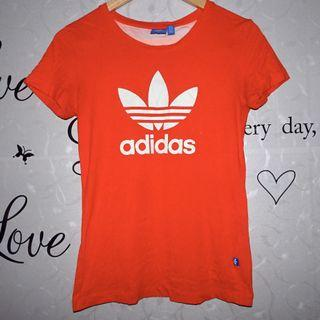 (M) Adidas cotton tee, orange color in actual, nice and almost looks new