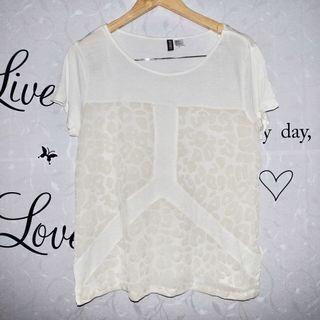 (L-XL) Divided by H&M white tops, see through front design, super nice and looks new