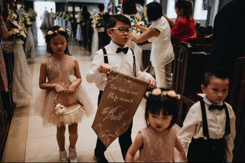 Wedding banner here comes the bride