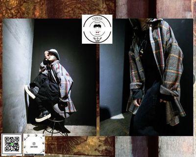 ❮❮誰合普UHF®❯❯ 正韓 格紋襯衫 可當外套 重磅長版襯衫 男女皆可 。(網路特賣價$3200)