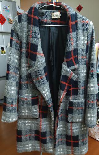 復古格紋厚棉墊肩大衣