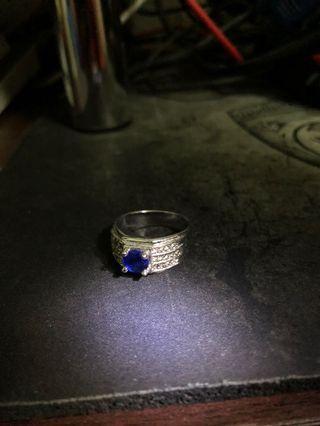 藍寶石鑽戒 男戒