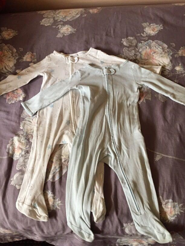 2 x Carter's sleep suits - excellent used condition